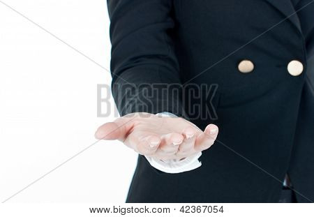 businesswoman's hand is holding