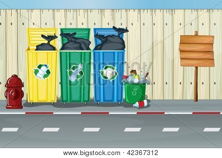 Illustration of dustbins, a fire hydrant and a notice board on a roadside