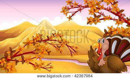 Illustration of a turkey in an autumn view