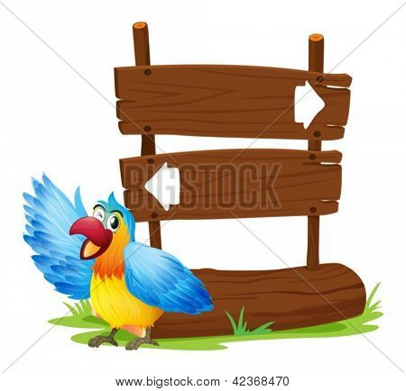 Illustration of a parrot standing beside a two-plank signboard on a white background