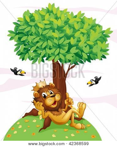 Illustration of a king lion and the two birds on a white background