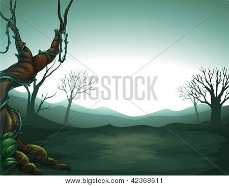 Illustration of a dark view of the forest