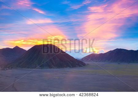 Batok Volcano at Bromo Mountain Region National Park East Java Indonesia at Dusk