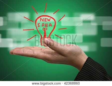 Light bulb on Business hand for New Idea Innovation Concept