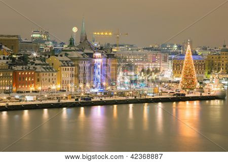 Aerial view of Stockholm Skyline Cityscape at Night