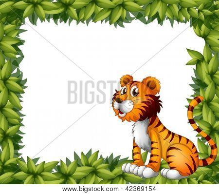 Illustration of a tiger sitting in a leafy frame