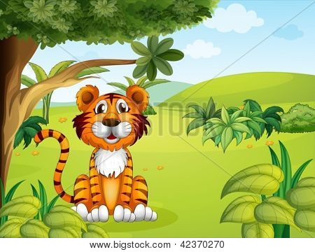 Illustration of a tiger sitting near the tree