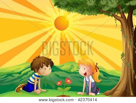 Illustration of kids watching over a flower