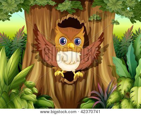 Ilustración de un árbol hueco con un búho