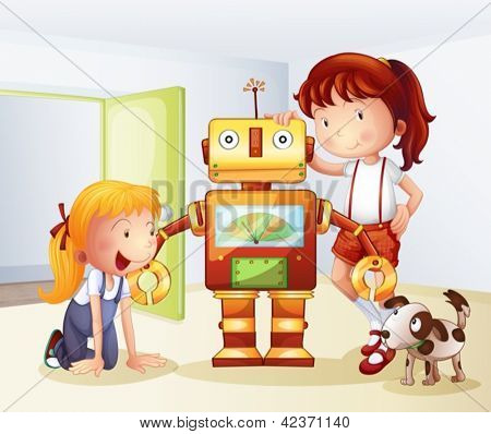 Illustration of two girls, a dog and a robot on a white background