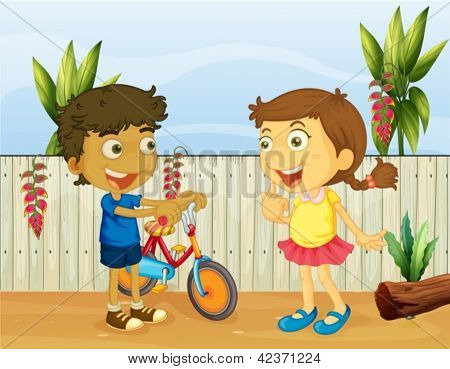 Illlustration of two children talking