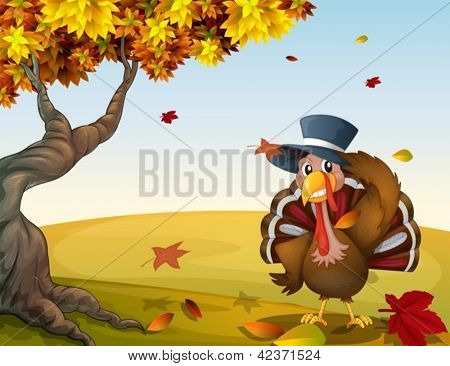 Illustration of a turkey in an autumn scenery