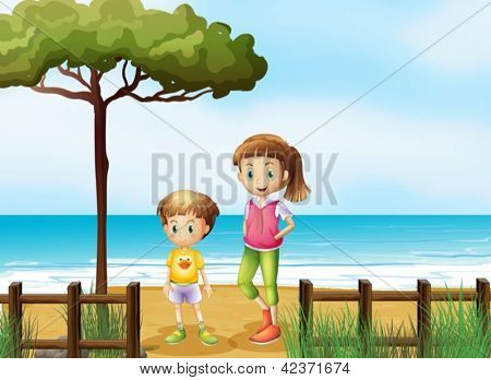 Illustration of a smiling boy and a girl standing on a beach