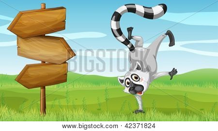 Illustration of a wild animal beside a wooden signage