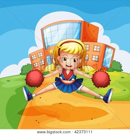 Illustration of a girl dancing in front of a school