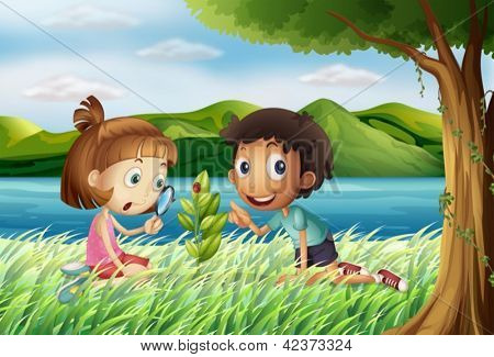 Illustration of kids near the river with a magnifying glass