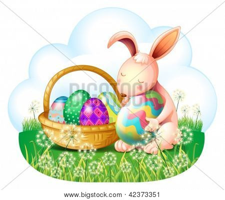 Illustration of a bunny and a basket full of easter eggs on a white background