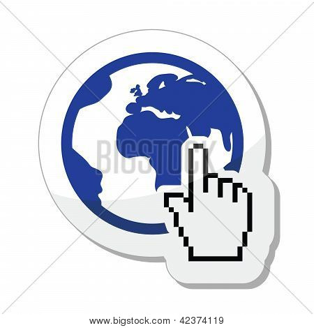 Globe, earth with cursor hand vector icon