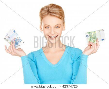imagens de linda mulher com dinheiro do euro.