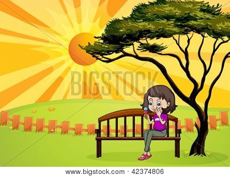 Illustration of a girl in the park sitting in the wooden bench