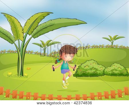Illustration of a girl playing jumping rope in the park