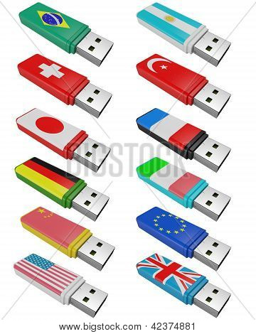 Set Flash Usb Isolated