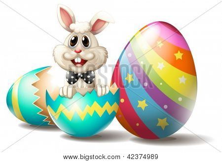 Illustration of a rabbit inside a cracked easter egg on a white background