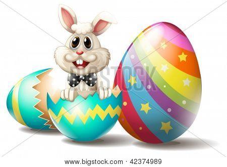 Ilustração de um coelho dentro de um ovo de Páscoa rachado em um fundo branco