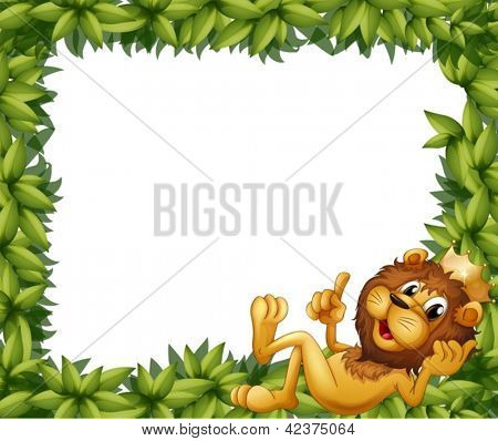 Illustration of a lion with a crown in a leafy frame