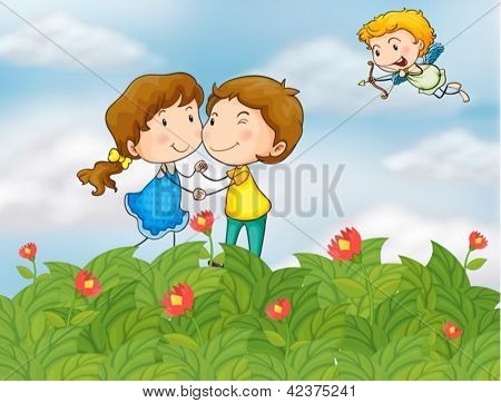 Illustration of a couple in the garden with Mr. Cupid