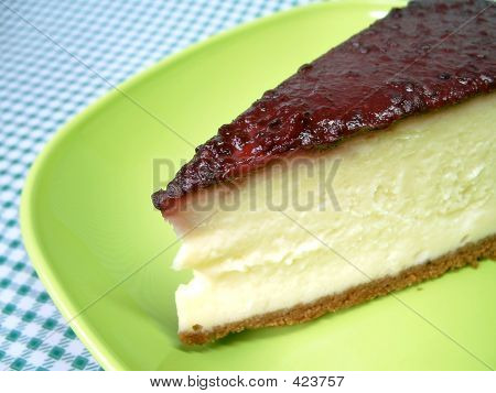 Cheesecake On Green Plate