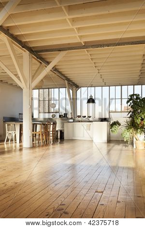 wide loft, beams and wooden floor
