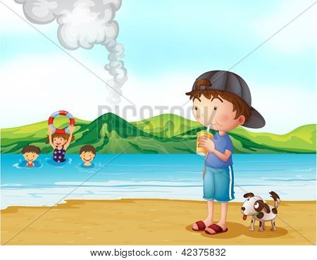 Illustration of kids swimming and a boy and his pet at the seashore