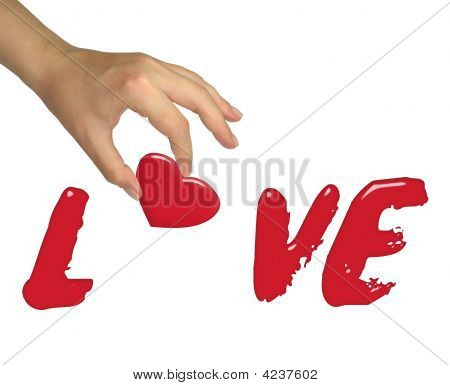 Female Hand Building Love Word Isolated On White Background