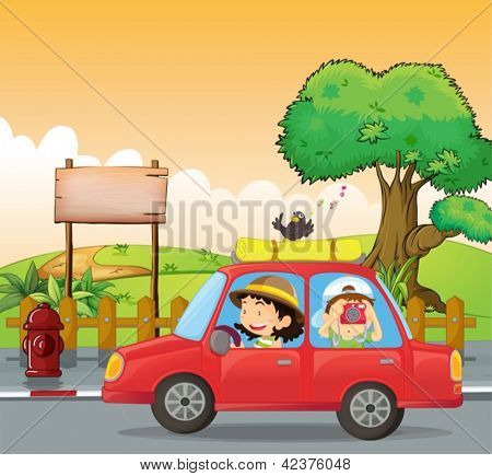 Illustration of a girl driving and a boy taking pictures