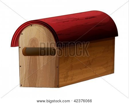 Illustration of a wooden mailbox on a white background