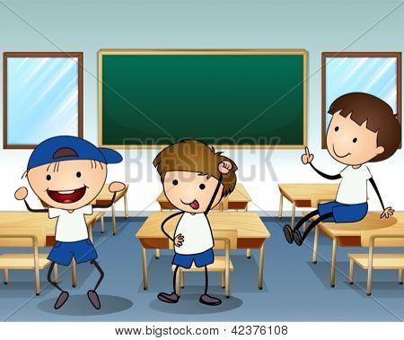 Illustration of the three boys laughing inside the classroom