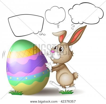 Illustration of a rabbit pushing a colorful egg on a white background