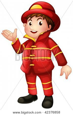 Illustration of a fireman with a complete uniform on a white background