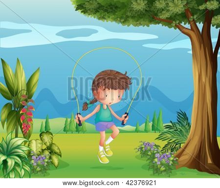Illustration of a girl playing jumping rope near the tree