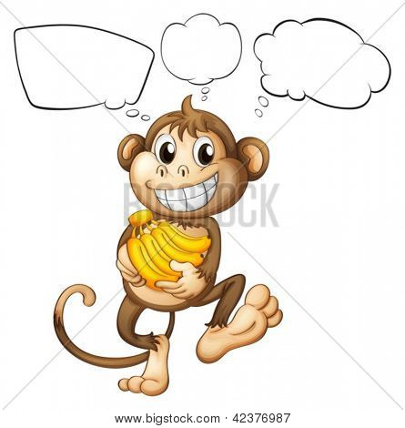Illustration of a monkey with bananas on a white background