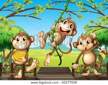 Ilustração de macacos na ponte de madeira