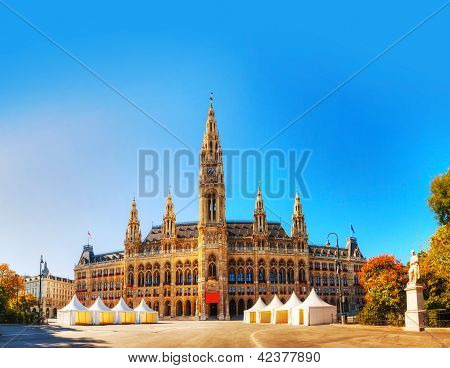Rathaus (city Hall) In Vienna, Austria In The Morning
