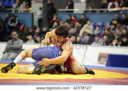 KIEV, UKRAINE - FEBRUARY 16: Match between Shamil Katinovasov, Russia, red and Petr Tavgazov, Russia during XIX International freestyle wrestling tournament in Kiev, Ukraine on February 16, 2013