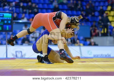 KIEV, UKRAINE - FEBRUARY 16: Match between Lampe, USA, red and Bezruka, Ukraine during XIX International freestyle wrestling and female wrestling tournament in Kiev, Ukraine on February 16, 2013