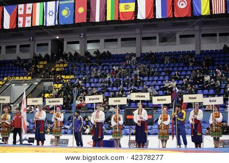 KIEV, UKRAINE - FEBRUARY 16: Opening ceremony of XIX International freestyle wrestling and female wrestling tournament in Kiev, Ukraine on February 16, 2013
