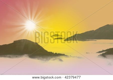 Fantastic Sunrise Mountains Landscape