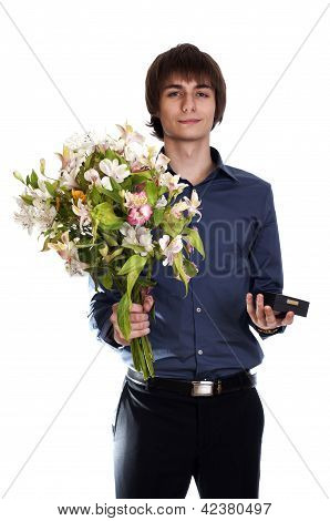 Happy men hold bouquet of flowers and gift.  isolated on white b