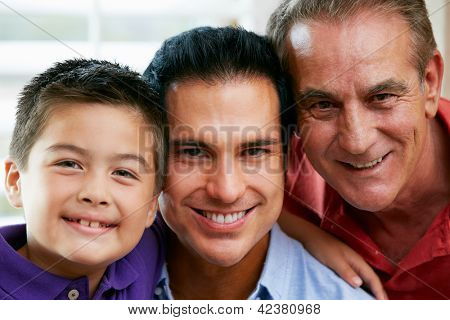 Male Members Of Multi Generation Family At Home
