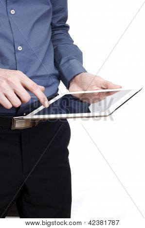 Tablet in man hand. isolated on white background